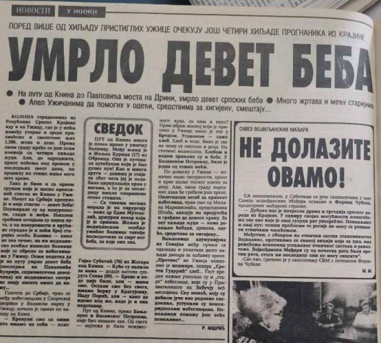 TUGA - UMRLO DEVET SRPSKIH BEBA: Golgota srpskog naroda na izbegličkom putu od Knina do Užica (FOTO)