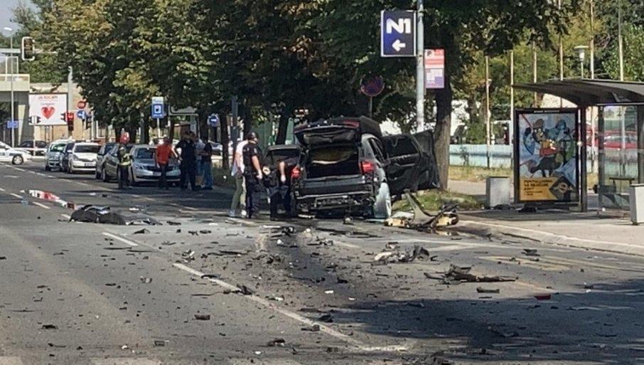 ПРВИ СНИМЦИ СА МЕСТА ЕКСПЛОЗИЈЕ : Са Стојановићем у ауту била и Колумбијка, обоје повређени - возило разнето у комаде! (ВИДЕО)