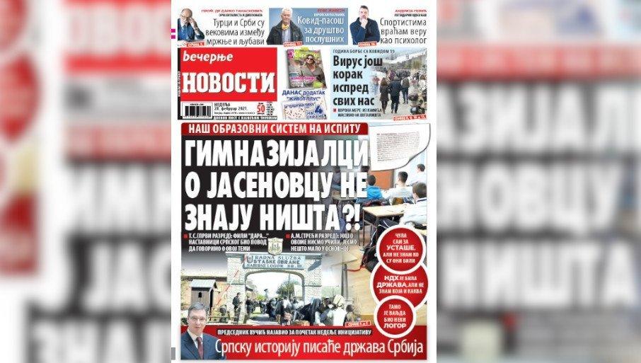 """ZLOČINI NDH, KOVID PASOŠI, ISPOVEST ANDRIJE GERIĆA: Evo šta sve donose """"Večernje novosti"""" u nedelju 28. februara"""