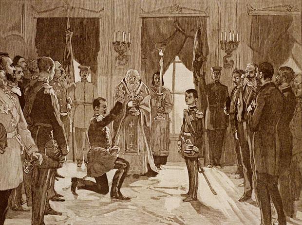 Милан полаже заклетву пред крунисаним сином Алексанрдом