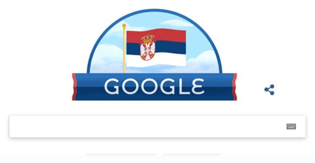Gugl u znaku Srbije i Dana državnosti