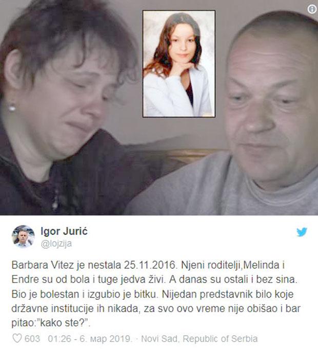 'Otišao je moj sin, moj junak': Još jedna tragedija u porodici nestale Barbare Vitez