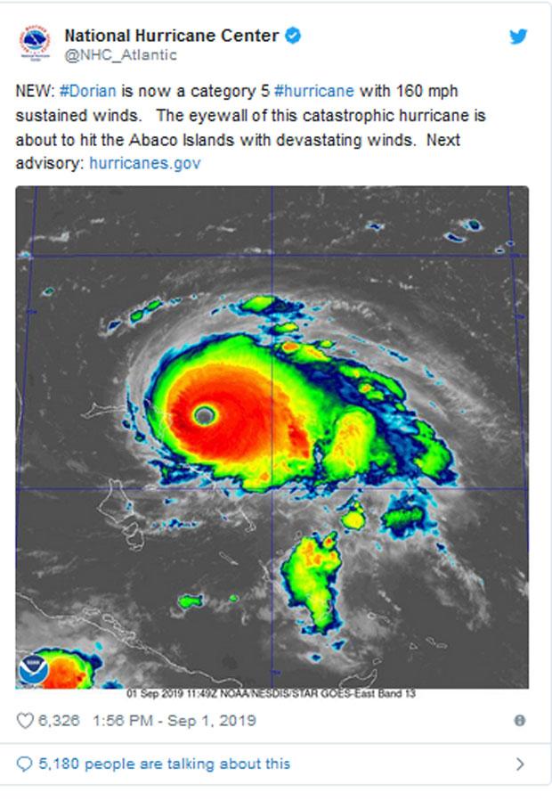 Uragan Dorijan prerastao u kategoriju pet, udari vetra dostigli 260km/h