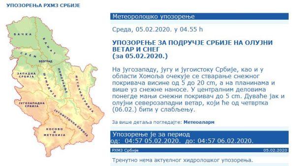 Упозорење РХМЗ: Очекује се јак олујни ветар, у овим деловима земље биће највише снега