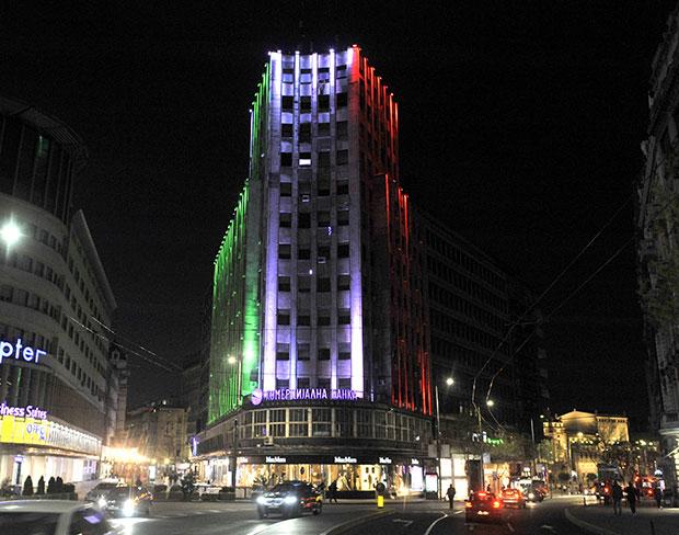 Građevine U Beogradu Osvetljene U Bojama Zastava Pet Zemalja Foto
